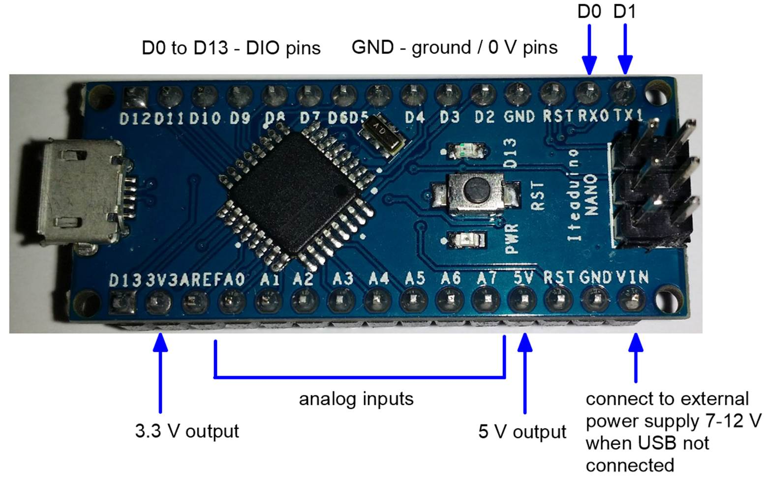 Lab 1 This Covers The Basics Of Arduino Programming Including If Voltage Goes Into Pin Three Then Circuit Becomes A Non Tip Digital Input Output Dio Pins On An D0 To D13 Are Often Just Referred As 13 D Letter Is Not Used