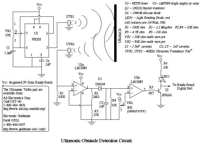 Передатчик - генератор на таймере 555 Приёмник - усилитель на ОУ, детектор на диоде, пороговая схема на ОУ.
