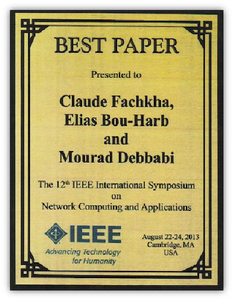 Best Paper Award at IEEE NCA 2013